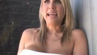 Busty Blonde Fucks and Sucks a Huge Black Monster Cock